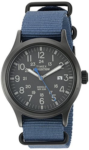 Timex Men's TW4B04800 Expedition Scout Blue Nylon Slip-Thru Strap Watch