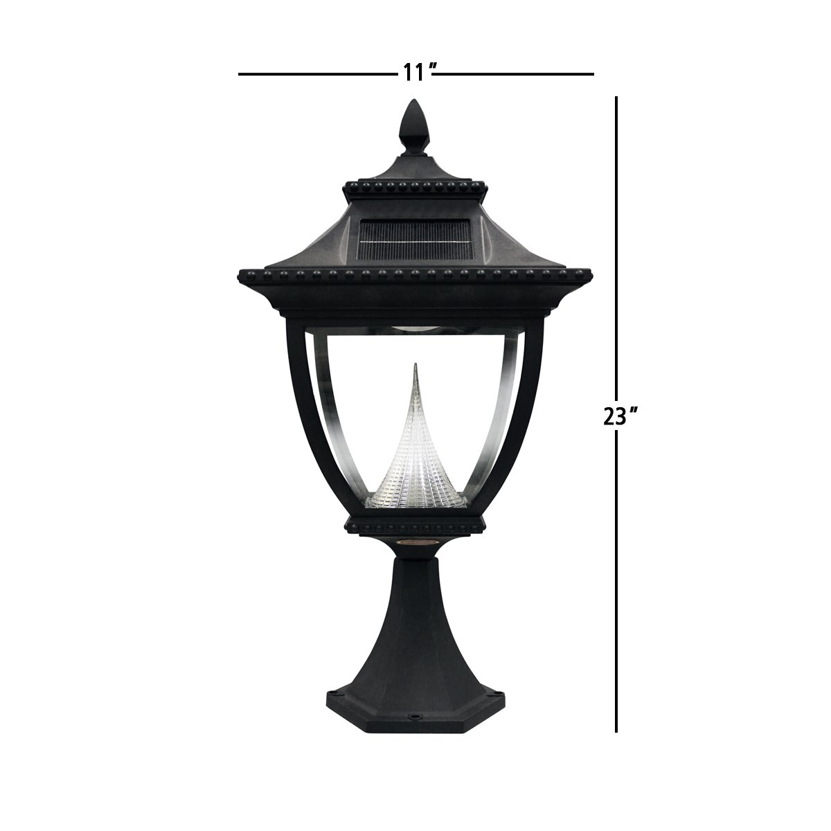 Bright White LED Lamp Black Gamasonic Wall Mount Gama Sonic GS-104W Pagoda Sconce Outdoor Solar Light Fixture