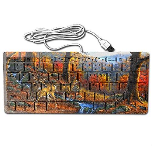 (Mini Keyboard USB Wired Ultrathin Forests Autumn Deer Sunset Light Portable Universal 78key For Notebook Computer PC Desktops Laptop)