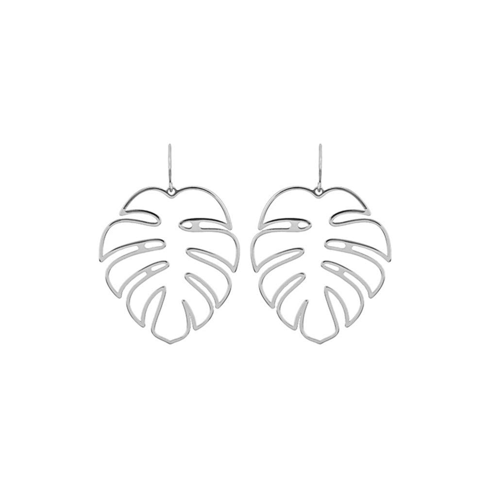 Myhouse Bohemian Hollow Monstera Leaf Shape Long Dangle Earrings for Women Girls Charm Accessories, Silver Color