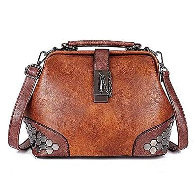 76d56e516b SODIAL Fashion Ladies Portable Diagonal Totes Shoulder Bag Designer Pu  Leather Sequins Bag Shell Handbag(Brown)  Amazon.co.uk  Shoes   Bags