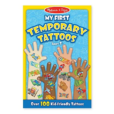 Melissa & Doug Blue: My First Temporary Tattoos - 100+ Kid-Friendly Tattoos & 1 Scratch Art Mini-Pad Bundle (02947): Toys & Games