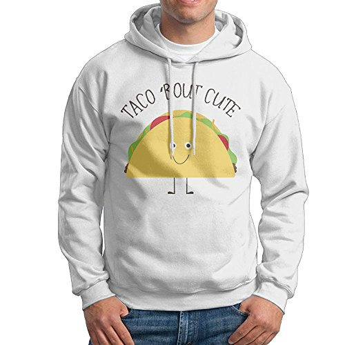 Obachi Taco Bout Cute Men's Long Sleeve Pullover Hooded Sweatshirt White Size XL