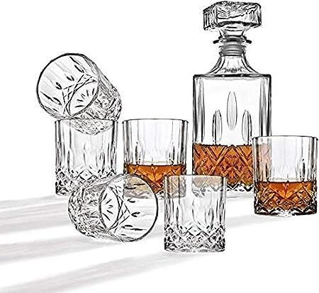 GAOXIAOMEI Decantador De Whisky Y Barra De Vasos De Whisky, Elegante Juego De 7 Piezas Incluye Un Decantador De Whisky De Cristal con Tapón Adornado Y 6 Exquisitos Vasos De Cóctel