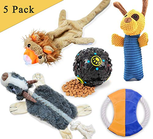 LOOBANI Dog Toys 5 Set丨 Plush Squeaky Toy Stuffed, Durable
