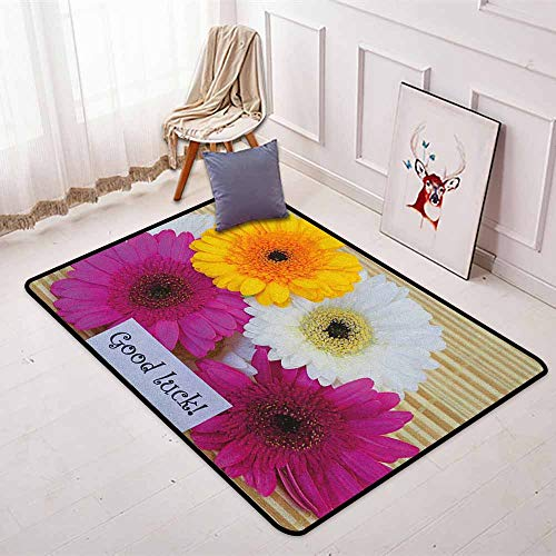 Going Away Party Non-Slip Absorbent Carpet Good Luck Note Colorful Gerbera Daisies Botanical Composition Art Print Better underfoot Protection W47.2 x L59 Inch Multicolor