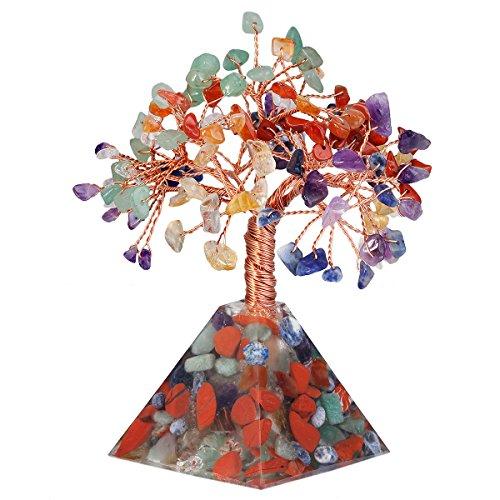 mookaitedecor 7 Chakra Crystal Tree, Chakra Pyramid Base Bonsai Money Tree for Wealth and Luck by mookaitedecor