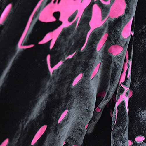 Black Fuchsia Floral Leaf Silhouette Devore' Burnout 15% Silk 85% Rayon Blend Velvet Printed 45 Inch Wide Fabric By the Yard - Printed Silk Blend