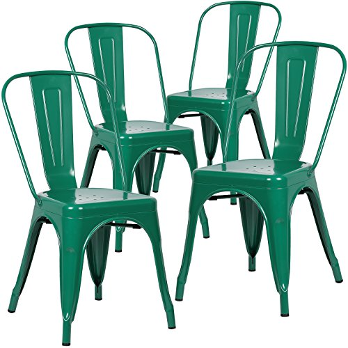 Poly and Bark Trattoria Side Chair in Dark Green (Set of 4)