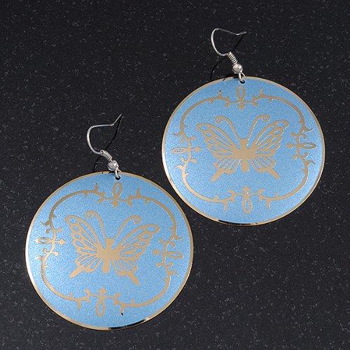 """Boucles d'oreille goutte ronde """"Papillon"""" bleu clair -longueur 6cm"""