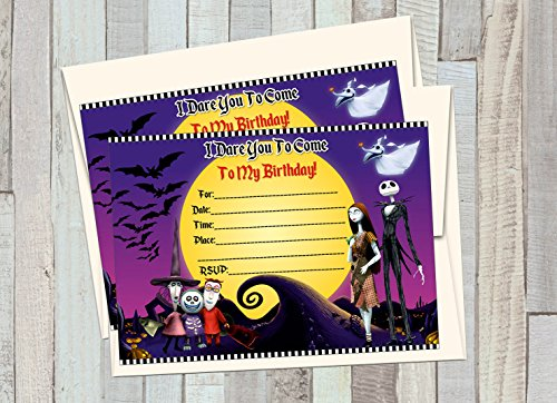 12 NIGHTMARE BEFORE CHRISTMAS Birthday Invitations (12 5x7in Cards, 12 matching white envelopes) -