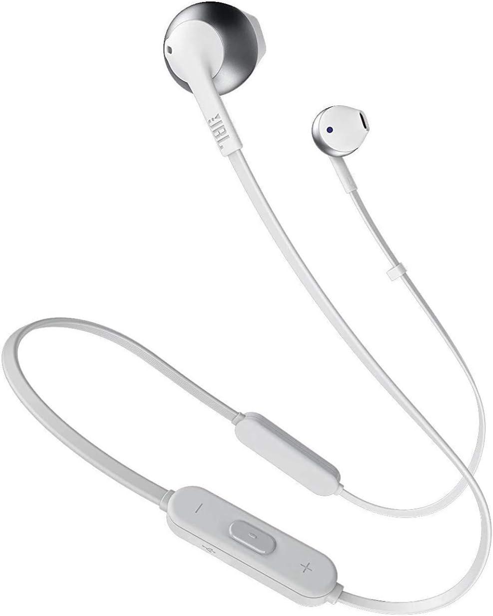 JBL Tune 205BT - Auriculares Inalámbricos intraurales con micrófono y mando a distancia con 3 botones, función de manos libres y diseño ergonómico con cable sin enredos, plata