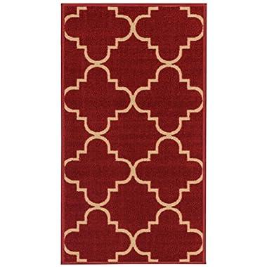 Anti-Bacterial Rubber Back DOORMAT Non-Skid/Slip Rug 18 x30  Red Moroccan Trellis Interior Entrance Decorative Low Profile Modern Indoor Front Inside Kitchen Thin Floor Runner DOOR MATS for Home