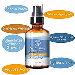 Niacinamide Vitamin B3 Cream Serum 5%- 1 Oz - Visibly Tightens Pores, Reduces Wrinkles, Boosts Collagen, an Superior Moisturizing to Promote Visibly Younger Skin - Your Friends Will Notice