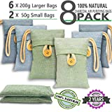 Bamboo Charcoal Air Purifying Bags 8 Pack (6X200g) (2X50g) Activated Bamboo Charcoal Air freshener Bags Natural Eco Friendly for Home Pets Car Closet Shoes