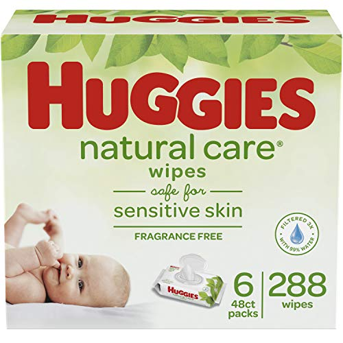 HUGGIES Natural Care Unscented Baby Wipes, Sensitive, 6 Disposable Flip-top Packs (288 Total Wipes) ()