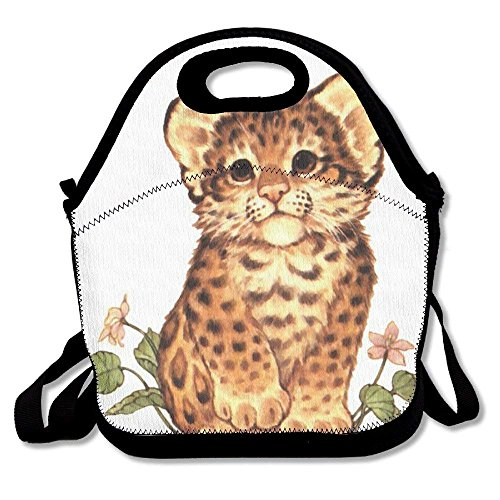 GoldBaoWang Baby Cheetah Neoprene Lunch Picnic Bag Insulated Lunch Box Waterproof Lunch Tote with Zipper Strap for Women Kids Boys Girls and Men