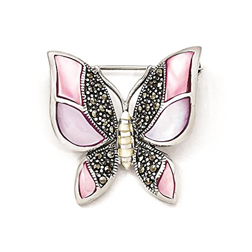 925 Sterling Silver Antiqued Marcasite & Mother of Pearl Butterfly Pin ()