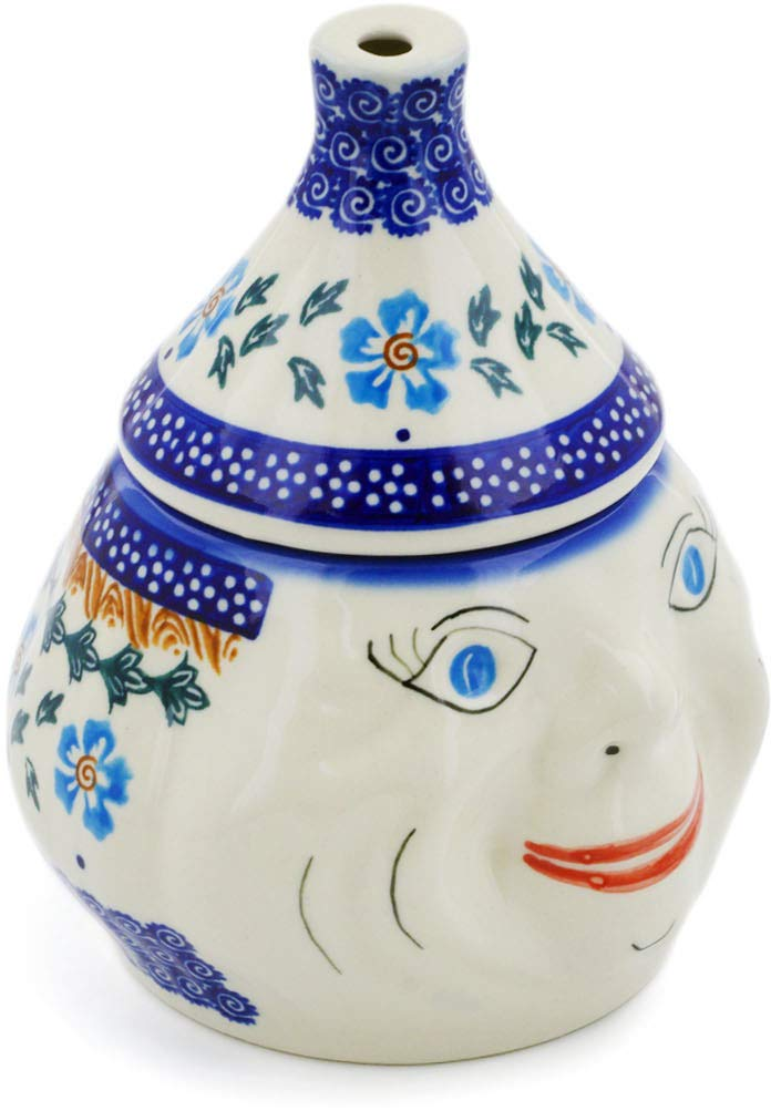 Polish Pottery 6½-inch Garlic Jar (Blue Cornflower Theme) + Certificate of Authenticity by Polmedia Polish Pottery