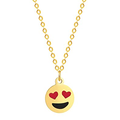 QIANDI Heart Eyes Emoji Smile Face Pendant Necklace Women Gold Choker N Jewelry Gifts a Variety of Expressions Charm BWP1H62