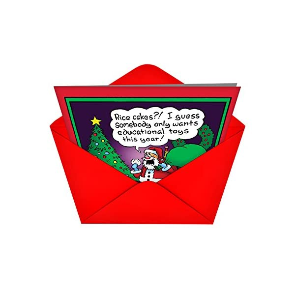 12 'Rice Cakes Boxed Christmas' Hilarious Greeting Cards 4.75 x 6.62 Inch, Merry Xmas Note Cards Featuring Funny Santa Comic with Diet Theme, Stationery w/Envelopes for Adults, Gifts, Parties B1587 51XU7SH4qdL