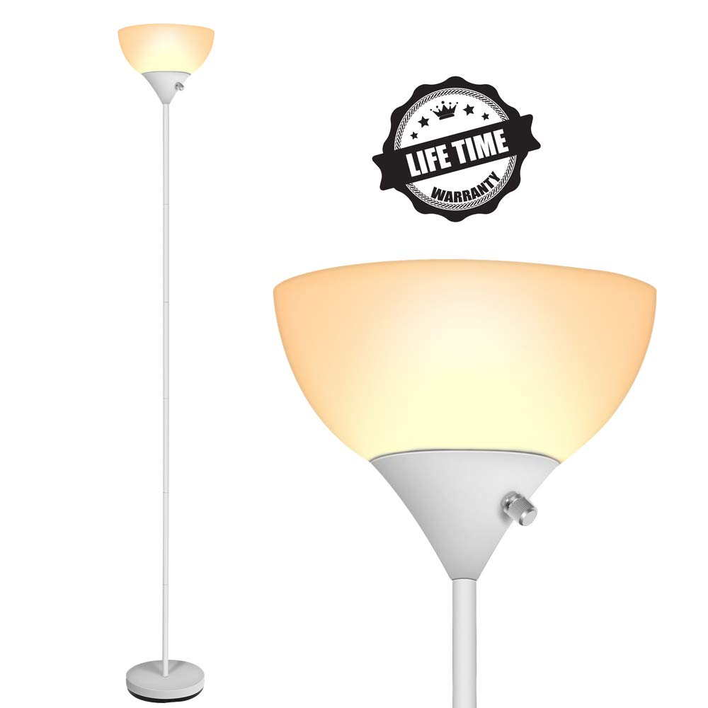 Modern Floor Lamp, 3000K LED Standing Floor Lamps, 9W Energy Saving, Long Lasting, Warm White, Torchiere Floor Lamps Lights for Living Room, Bedroom, Reading and Working
