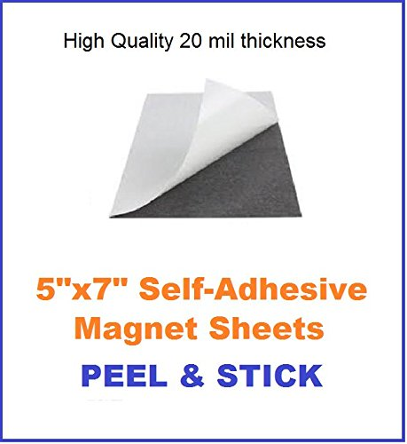 Eventprinters Flexible Adhesive Magnetic Sheets Paper 5-inch x 7-inch (Pack of 100 Sheets Size 5x7). Peel and Stick, Works Great for Pictures, Cuts to Any Size. Magnetic Sheets with Adhesive Backing.