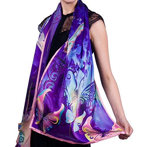 Women's Mulberry Silk Scarf Extended Long Scarf Real Silk Summer Shawl Free-Shipping by YSW