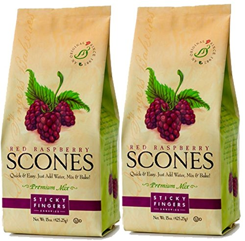 - Sticky Fingers Scone Mix (Pack of 2) 15 Ounce Bags - All Natural Scone Baking Mix (Raspberry)