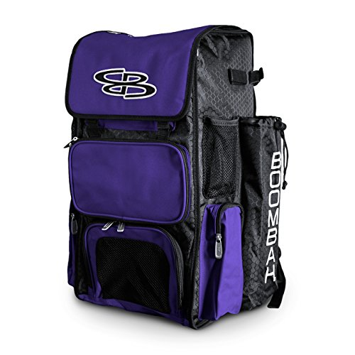 Boombah Superpack Bat Pack -Backpack Version (no Wheels) - Holds up to 4 Bats - Black/Purple - for Baseball or Softball