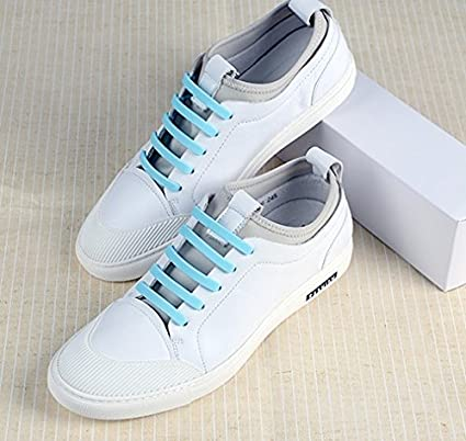 URCenter - Cordones de silicona para zapatillas de correr sin corbata (modelo 2018) mejorados, material resistente, goma elástica, Azul claro: Amazon.es: ...