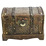 Giant Wooden Pirate Classical Treasure Storage Box with Lock (L)