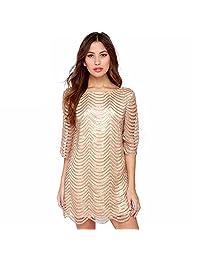 Women Plus Size Sequin Dress Crewneck Half Sleeve Stripe Party Prom Shift Dresses