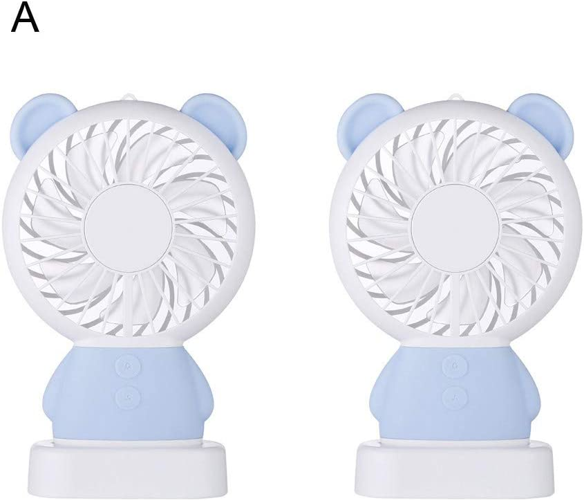 Travel Mini Fan Portable Handheld Fan Navy LED Lighting Small Fan Exquisite Rabbit Colorful Lights-Cool Bear Handheld Fan USB Rechargeable Mini Fan with Base for Travel Office Outdoor