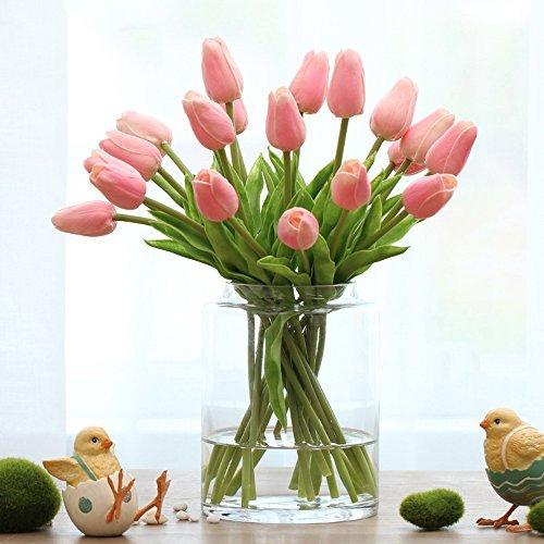 12PCS/Set PU Stunning Holland Tulip Flower Real Touch Artificial Silk Flowers Arrangement Bouquet Home Room Office Wedding Party Decor (Spring Decorations)