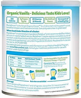 PediaSmart Organic Non-GMO Dairy Vanilla Complete Nutrition Beverage Powder, Clean Label Project Verified, 12.7 oz (Pack of 6)