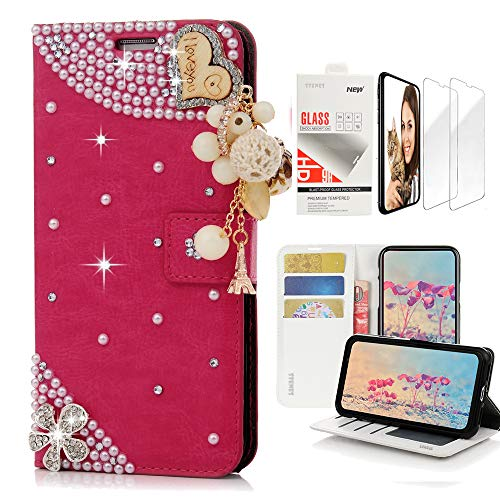 STENES Bling Wallet Case Compatible with LG Stylo 4, 3D Handmade Heart Pendant Flowers Design Leather Case with Wrist Strap & Screen Protector [2 Pack] - - Crystal Lovely Strap Charm