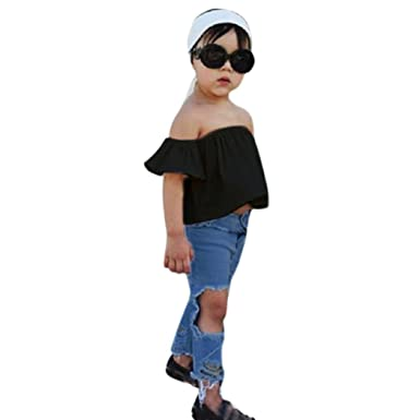9f44927a0f65 Amazon.com  Lurryly 2019 3Pcs Baby Girls Off Shoulder Crop Tops + Hole Denim  Pant Jean Headband Toddler Kids Clothes1-5T White  Clothing