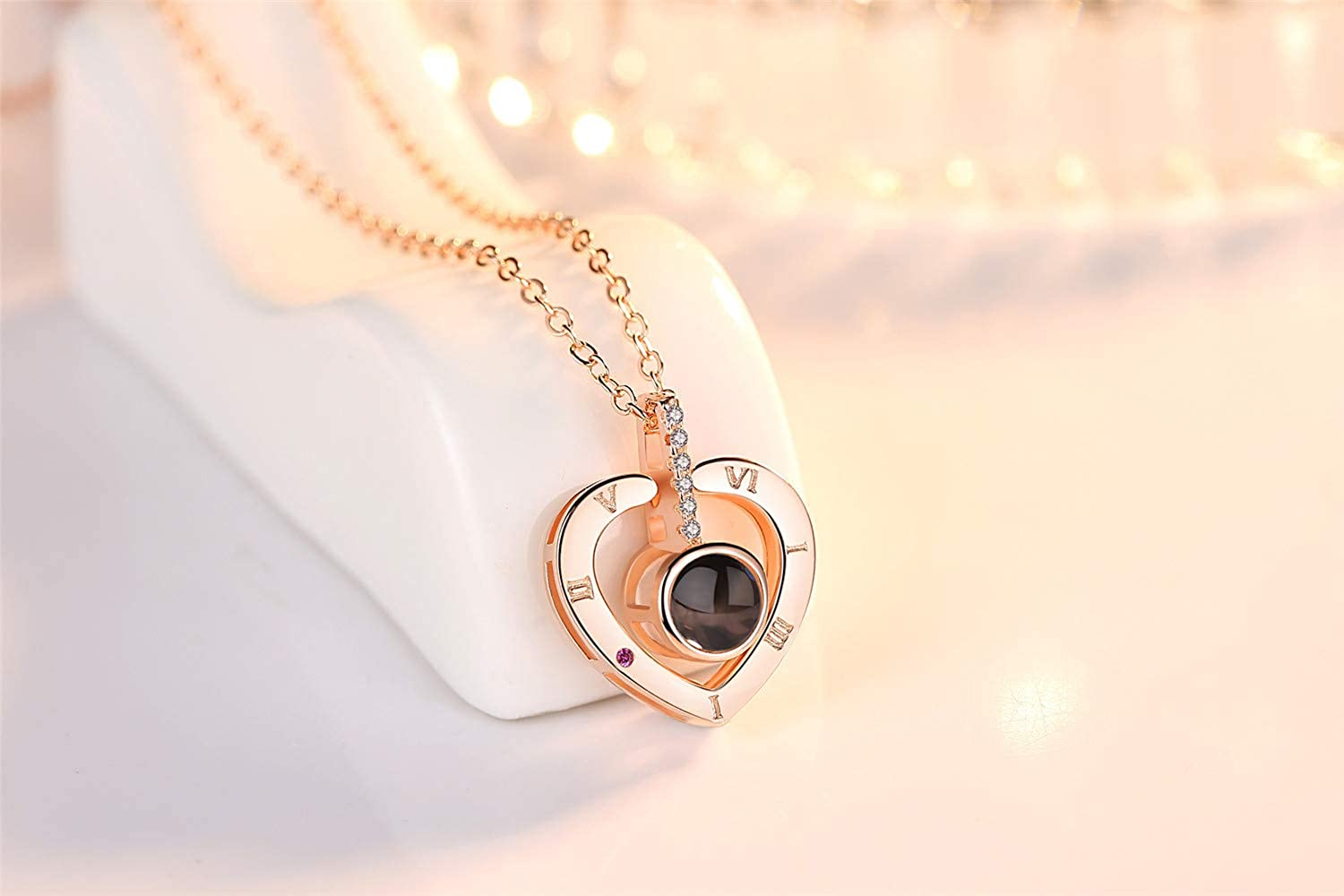 The Memory of Love Nanotechnology Necklace Women Clavicle Chain 100 Different Languages for I Love U Boyzn Copper Silver 925 Projective Necklace