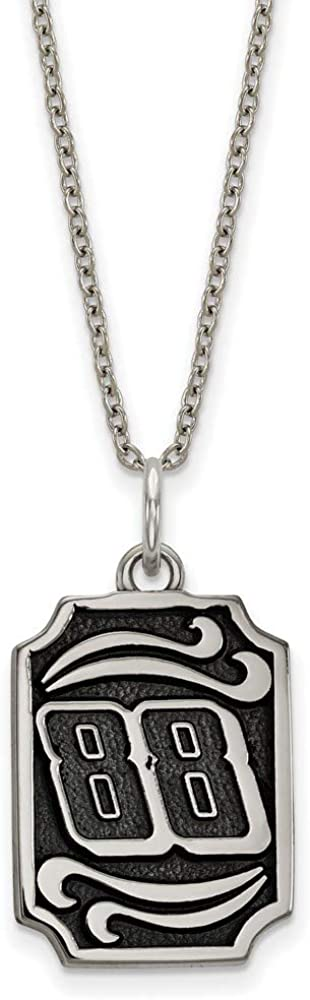Solid Stainless Steel Antique NASCAR Number # 88 Alex Bowman 2in Extension Pendant Necklace Charm Chain 27mm x 14mm