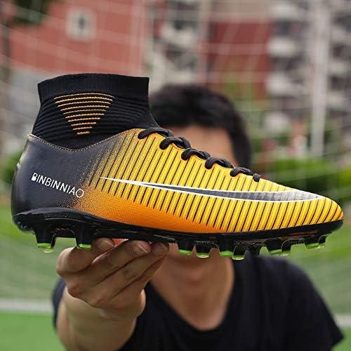 Pour vous Haut Haut antidérapante Wearable et confortable Football Bottes Football Crampons for hommes, Pointure: 9.5 (Long Spikes noir) XY (Couleur : TF Black Orange, Size : 9.5)