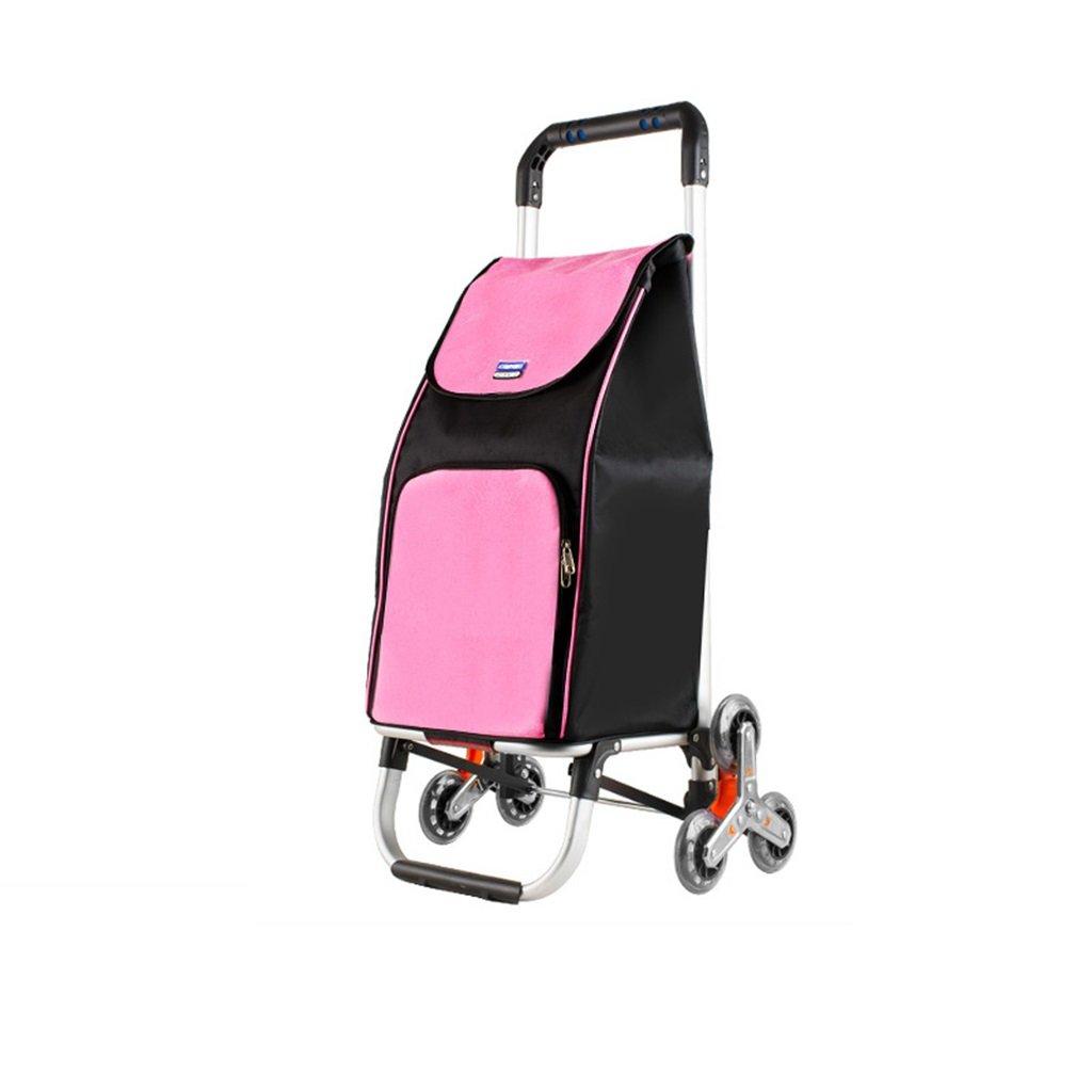 ショッピングカート 小型引っ張りカート手押し車トロリー折りたたみポータブルクライミング階段ショッピングカート荷物カートアルミ棒トレーラーハンドトラック (色 : Pink)  Pink B07FKQMKZY
