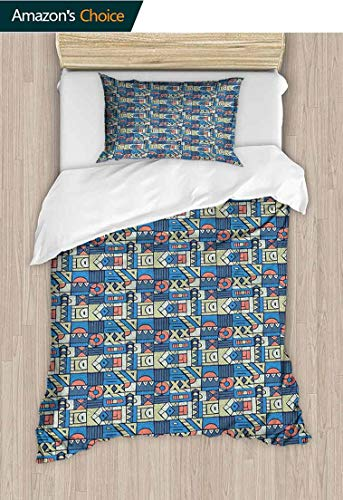 - Full Queen Duvet Cover Sets,Print with Tribal Folk Traditional Motifs Hand Drawn Style Indigenous Art Elements 100% Cotton Reversible 2 Pieces Kids Girls Boys Bedding Sets 59