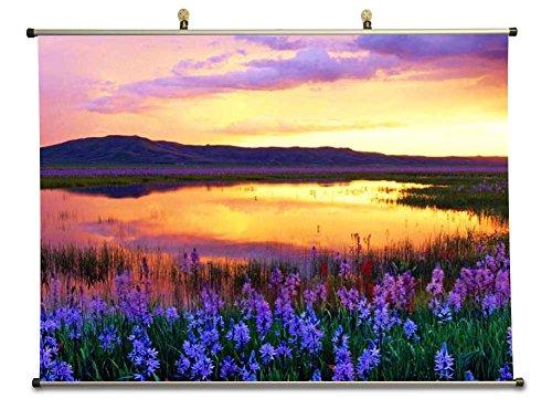 Camas Prairie Sunset, Idaho, USA - Canvas Wall Scroll Poster (50x70 cm)