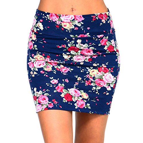 Fashionazzle Women's Casual Stretchy Bodycon Pencil Mini Skirt (Small, KS06-#35 Navy)