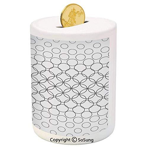 (SoSung Geometric Circle Decor Ceramic Piggy Bank,Artistic Various Overlap Dynamic Inner Oval Motifs Retro Print 3D Printed Ceramic Coin Bank Money Box for Kids & Adults,Black White)