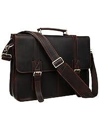 BAIGIO Men Vintage Crazy-Horse Genuine Leather Laptop Briefcase Shoulder Bag (Dark Brown)