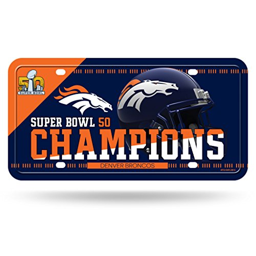Super Broncos Bowl Team Denver - Rico Industries NFL Denver Broncos Super Bowl 50 Champions Metal Auto Tag,12-Inch by 6-Inch,Blue