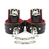 Madrid Lockable Wrist and Ankle Cuffs Combo Handmade Lambskin Leather Restraints (Red)
