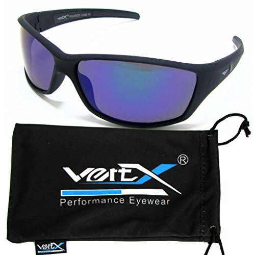 VertX Men's Polarized Sunglasses Sport Cycling Outdoor Soft Rubber Finish – Black Frame – Green - Sunglasses For Grips Rubber